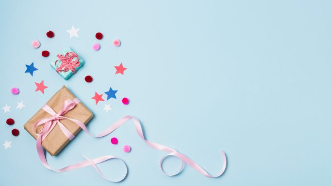 gift box with stars and ribbons showing protection and other elements of packaging